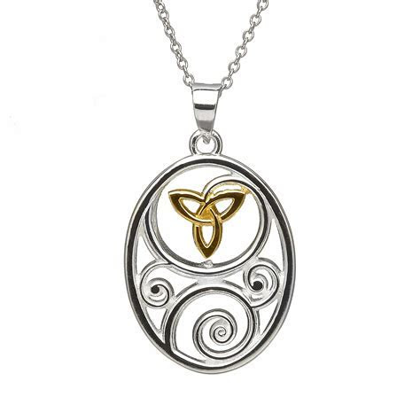 Sterling Silver Gold Plate Trinity Oval Pendant