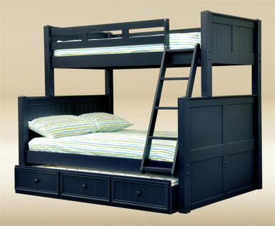 Dillon Navy Blue Twin Over Full Bunk Bed  Twin Over Full Bunk Bed