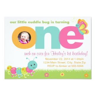 Cuddle Bug 1st Birthday Invitation 5x7 Photo Card