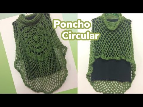فيديو شرح طريقة عمل بونشو الدائري  نسائي Crochet Poncho circular كروشيه