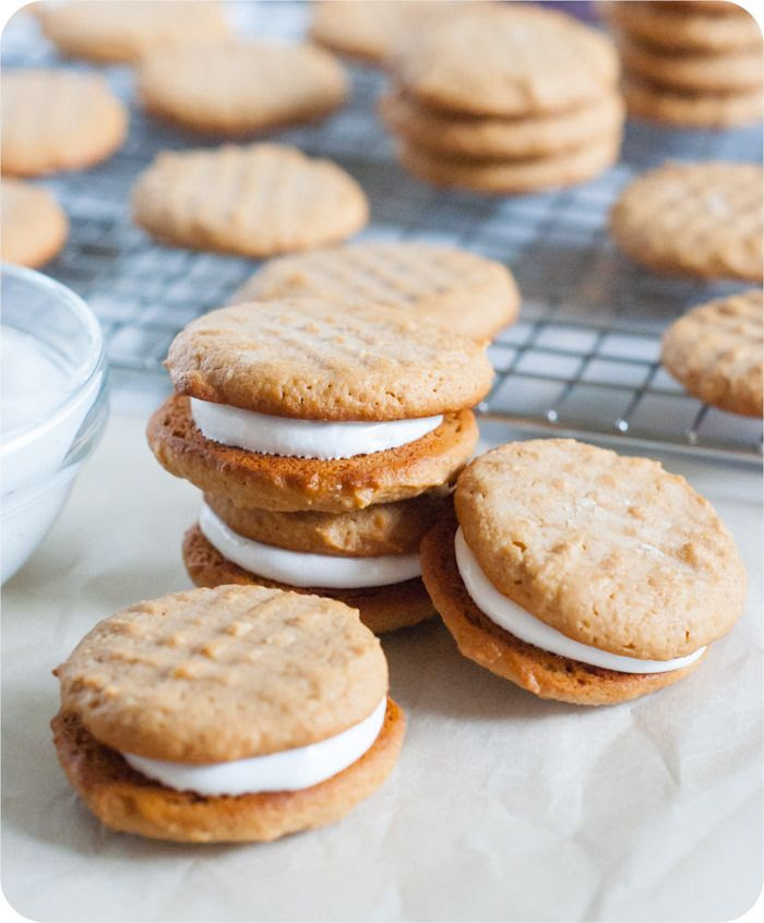 peanut butter and honey sandwich cookies, cookies are sweetened with only honey | bakeat350.blogspot.com
