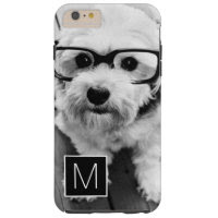 Black and White 1 Photo Collage Custom Monogram Tough iPhone 6 Plus Case