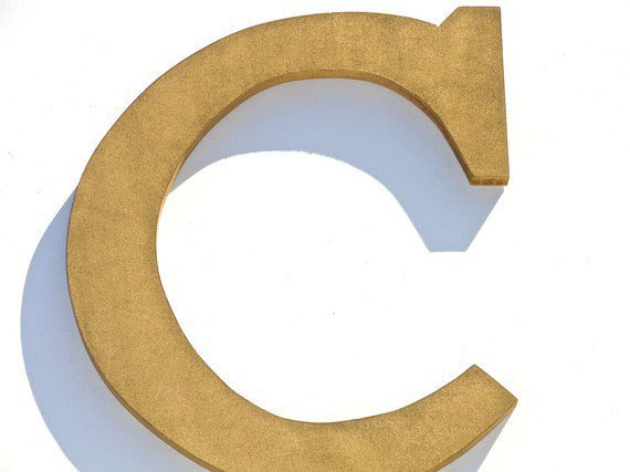 Custom Wood Gold Letter C, Wall Decor Letters, Chic Decor Initials ...