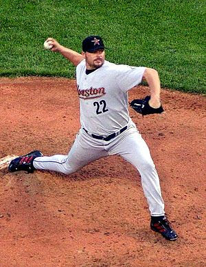 Roger Clemens pitching for the Houston Astros,...