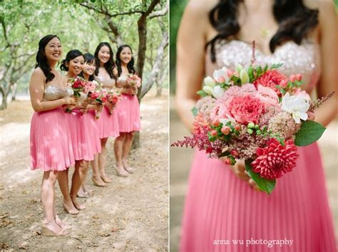 coral pink and gold sequin bridesmaid's dresses and