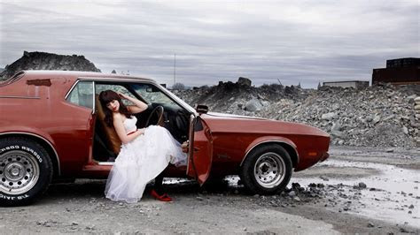 Ford Mustang, Wedding Dress, Women With Cars Wallpapers HD
