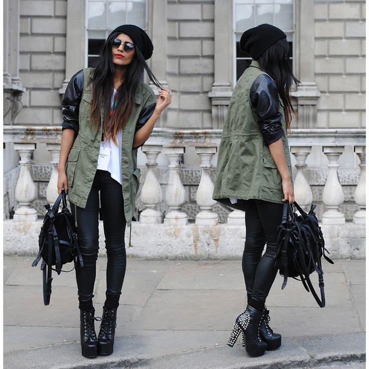 Khaki Military Jacket with PU Leather Sleeves