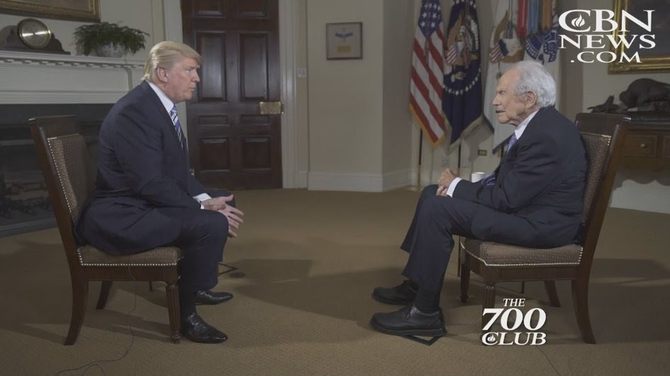 Image result for Pat Robertson in a White House interview with President Trump