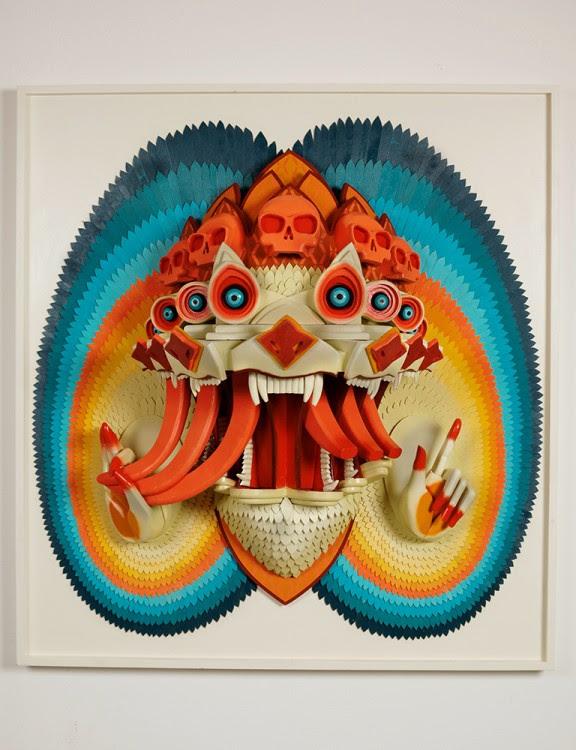 ajfossik bois tableau sculptre 03 576x750 Les monstres en relief dAJ Fosik  art
