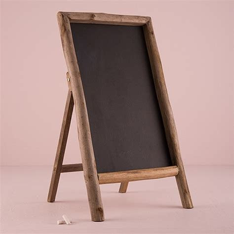 Self Standing Chalkboard Sign with Rustic Wood Frame   The