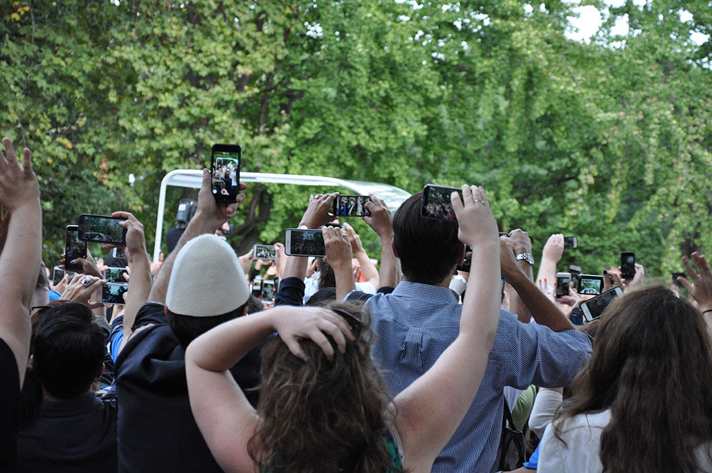 Pope Francis processes through Central Park on Sept. 25. Photo by Janet Sassi