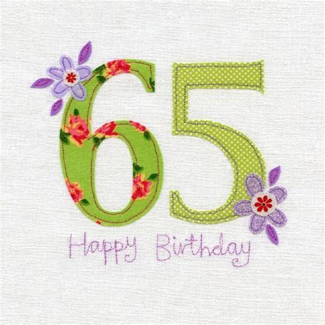 Hand Finished 65th Birthday Card   Karenza Paperie