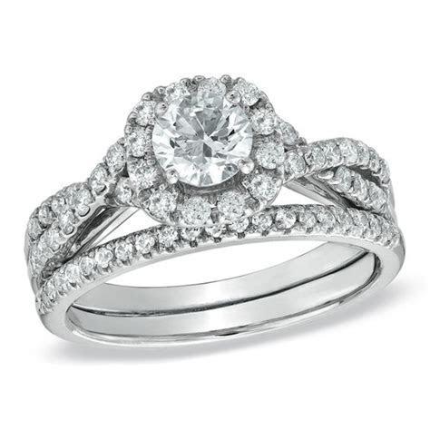 1 1/10 CT. T.W. Diamond Frame Twist Bridal Set in 14K
