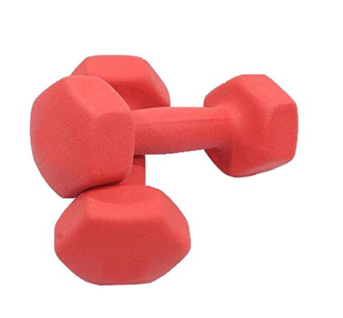 Dull Polished Red Non-Slip Grip Dumbbells Yoga Exercise Items Set of 2