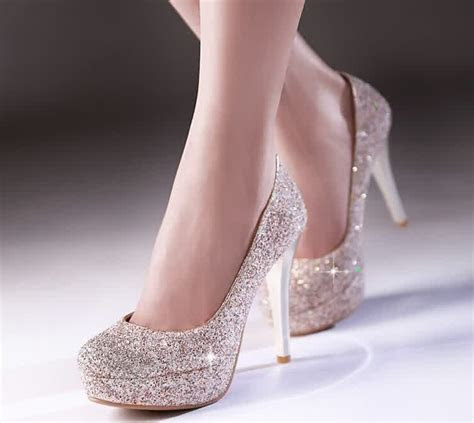 sparkle gold  trendy prom shoes   bridal trendy