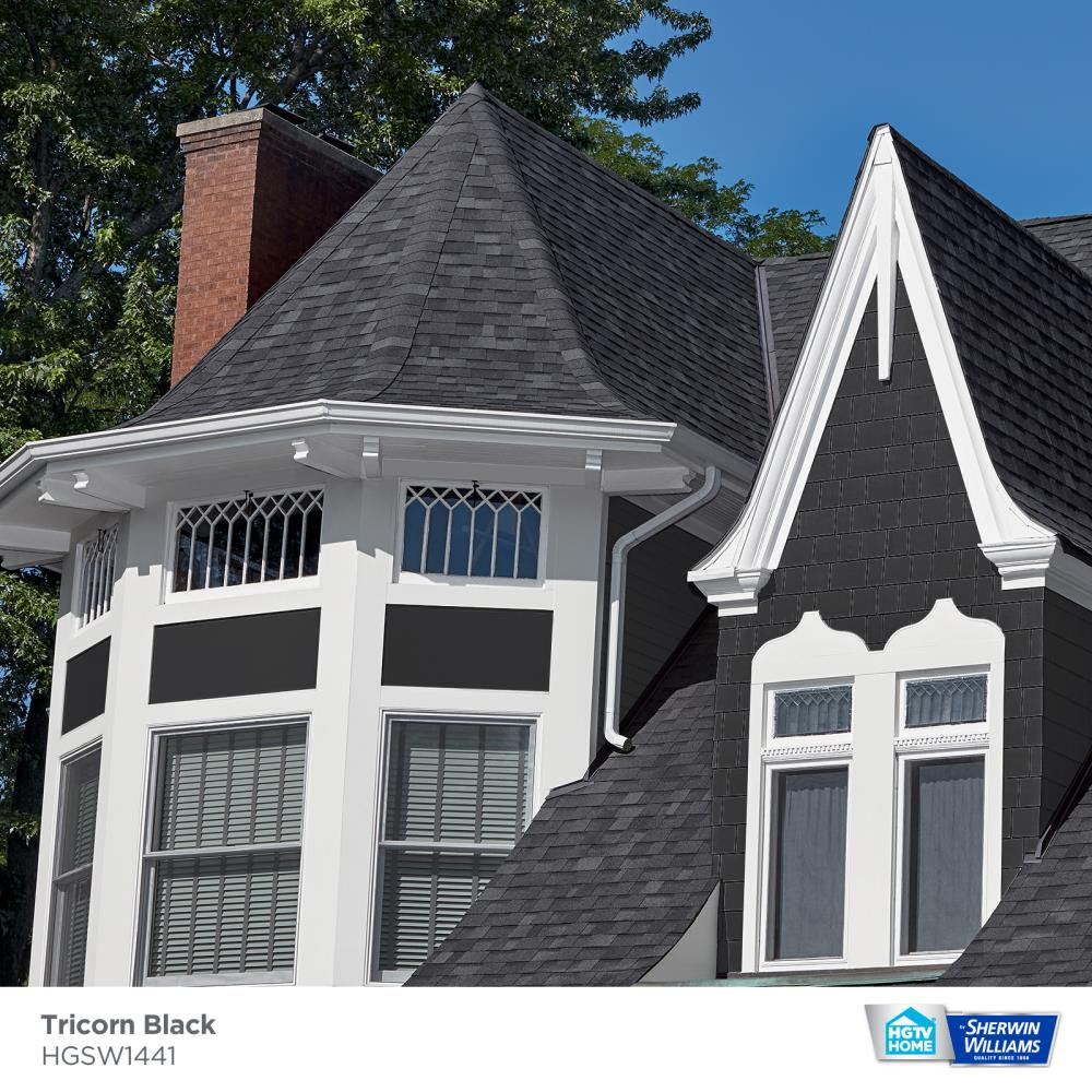 Hgtv Home By Sherwin Williams Weathershield Semi Gloss Tricorn Black Hgsw1441 Exterior Paint 1 Quart In The Exterior Paint Department At Lowes Com