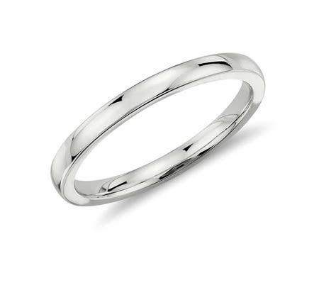 Low Dome Comfort Fit Wedding Ring in 14k White Gold (2mm