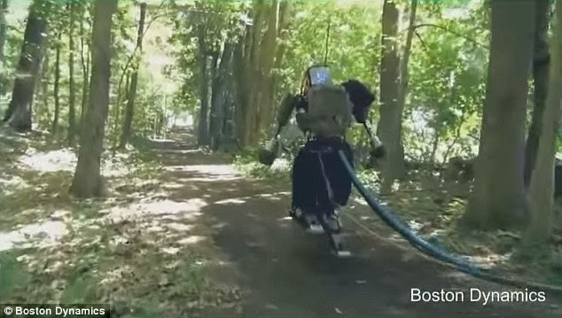 It may have fared badly in the recent robo-olympics, but Google has revealed its humanoid robot has been set free in the woods to learn how to run through terrain.