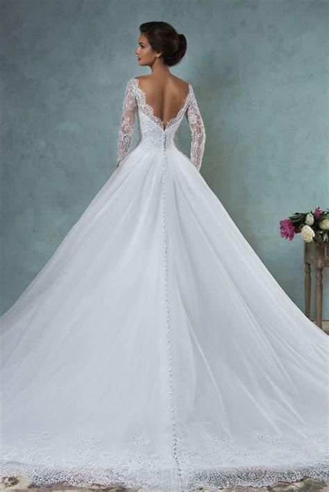 Lace Wedding Dresses Long Sleeve Sheer Crew Sweetheart