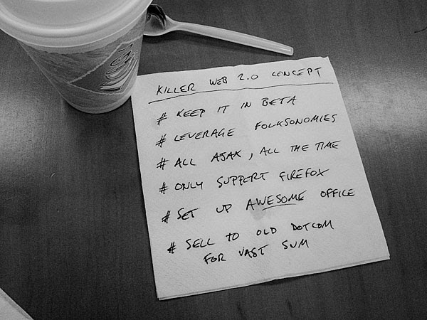 cofee stained napkin with web 2.0 business plan
