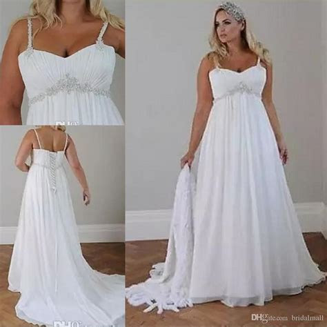Discount Crystals Plus Size Beach Wedding Dresses 2018