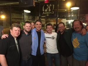 (L-R) Stick Stechkin (of The Penetrators), Chad Shivers, Richard Whig (The Fringe Factory), Eddie Angel (of Los Stratjackets), Richard Hawes (of The Mystery Men?), Trace Luger (of The Penetrators), and Bob Walk (of The Surf King Surfwear) – Photo by Jamie Galatas