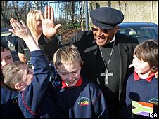 Archbishop Desmond Tutu meets children in Ireland