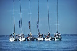 J/120 cruiser racer sailboats rafted on Lake St Claire