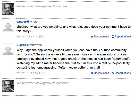 Boston Globe Removed My Comment