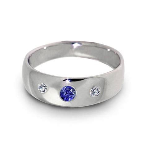 Three Stone Wedding Ring, Diamond Sapphire Ring, 14k White