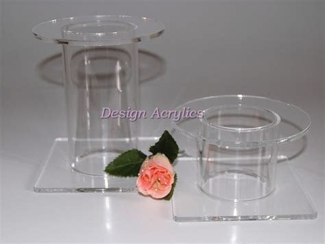 Set Of 2 Acrylic Wedding Cake Separator Stands 70mm Tube