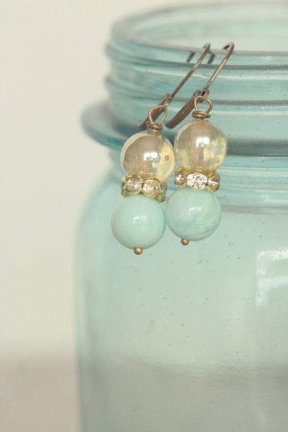 vintage rhinestone and glass earrings