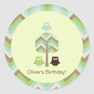 Owl Birthday Cupcake Toppers/Stickers