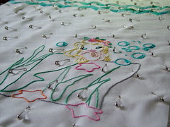 Mermaid pinned for quilting
