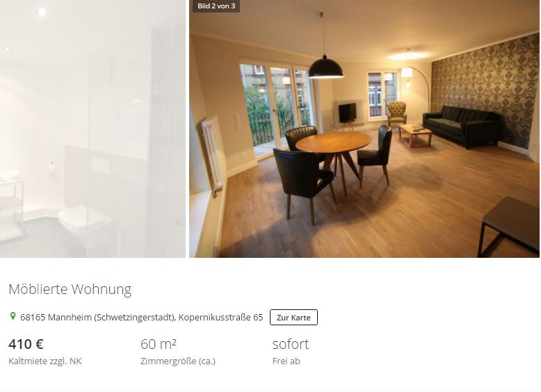 Moblierte Wohnung Mannheim