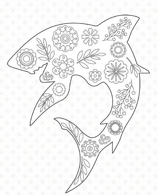 Floral Shark Coloring Page   FaveCrafts.com