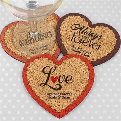Personalized Heart Cork Coaster Wedding Favors