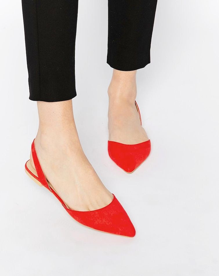 Slingback ballet pumps - red