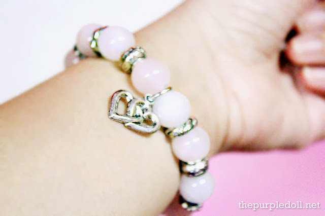 Green Halo Rose Quartz Crystal Bracelet when worn