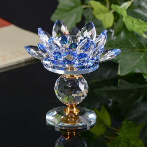 Crystal Glass Lotus Flower Candle Tea Light Holder Buddhist Candlestick Decor Home Decor Candle Holders Accessories
