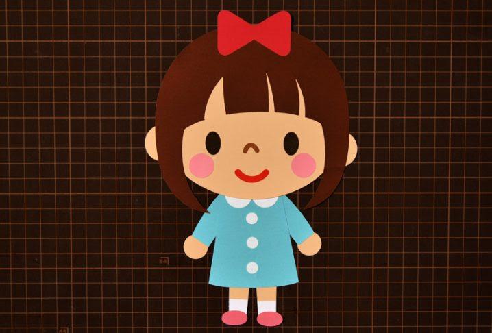 壁面飾り無料ダウンロード型紙でキャラクター 女の子⑨の