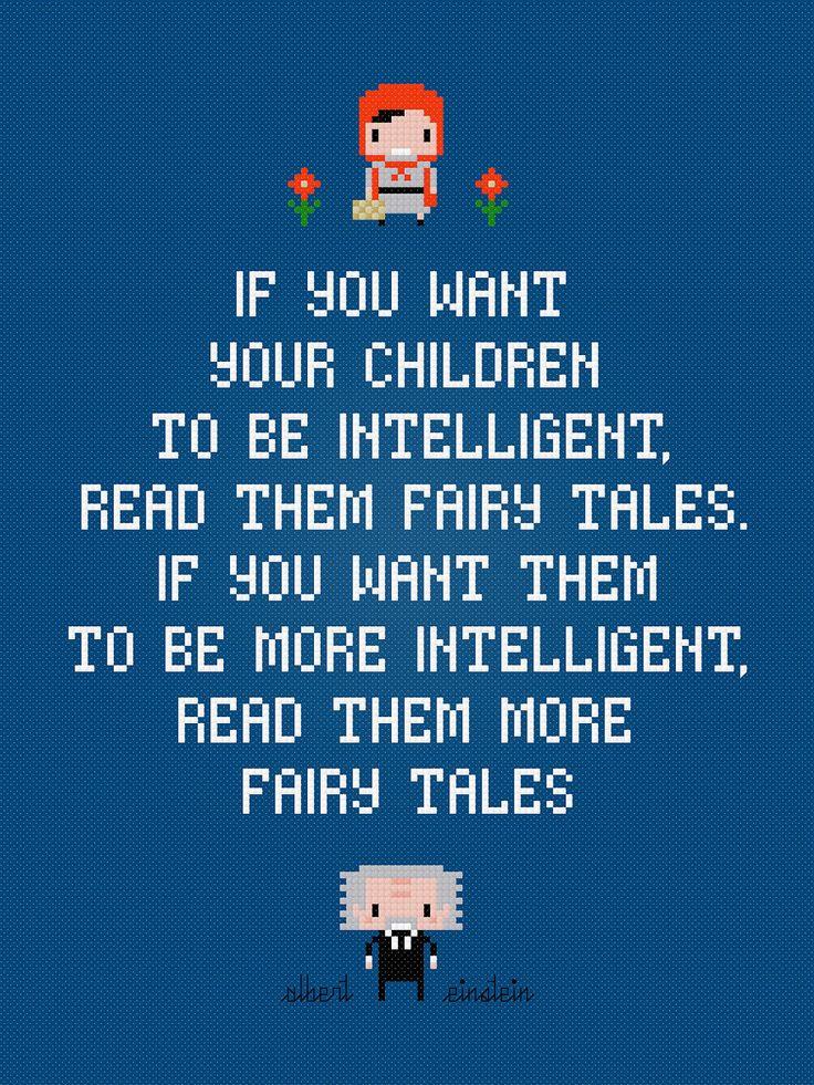 Albert Einstein Quote - Fairy Tales - Cross Stitch PDF Pattern Download. $4.00, via Etsy.