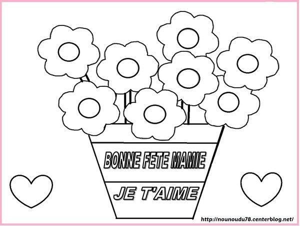 Coloriage Pot De Fleurs Fête Des Mamies
