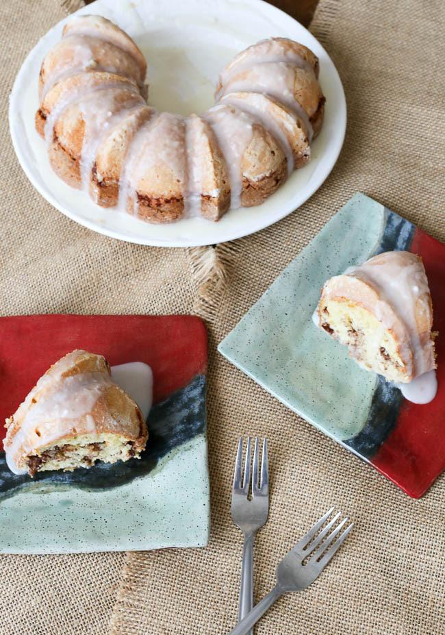 Glazed Cinnamon Pecan Coffee Cake