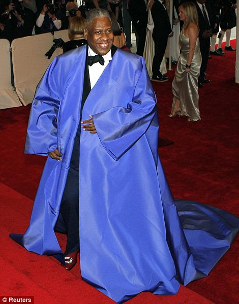 The big blue: Vogue's Andre Leon Talley makes an unforgettable statement in voluminous blue jacket as he arrives at the Met museum