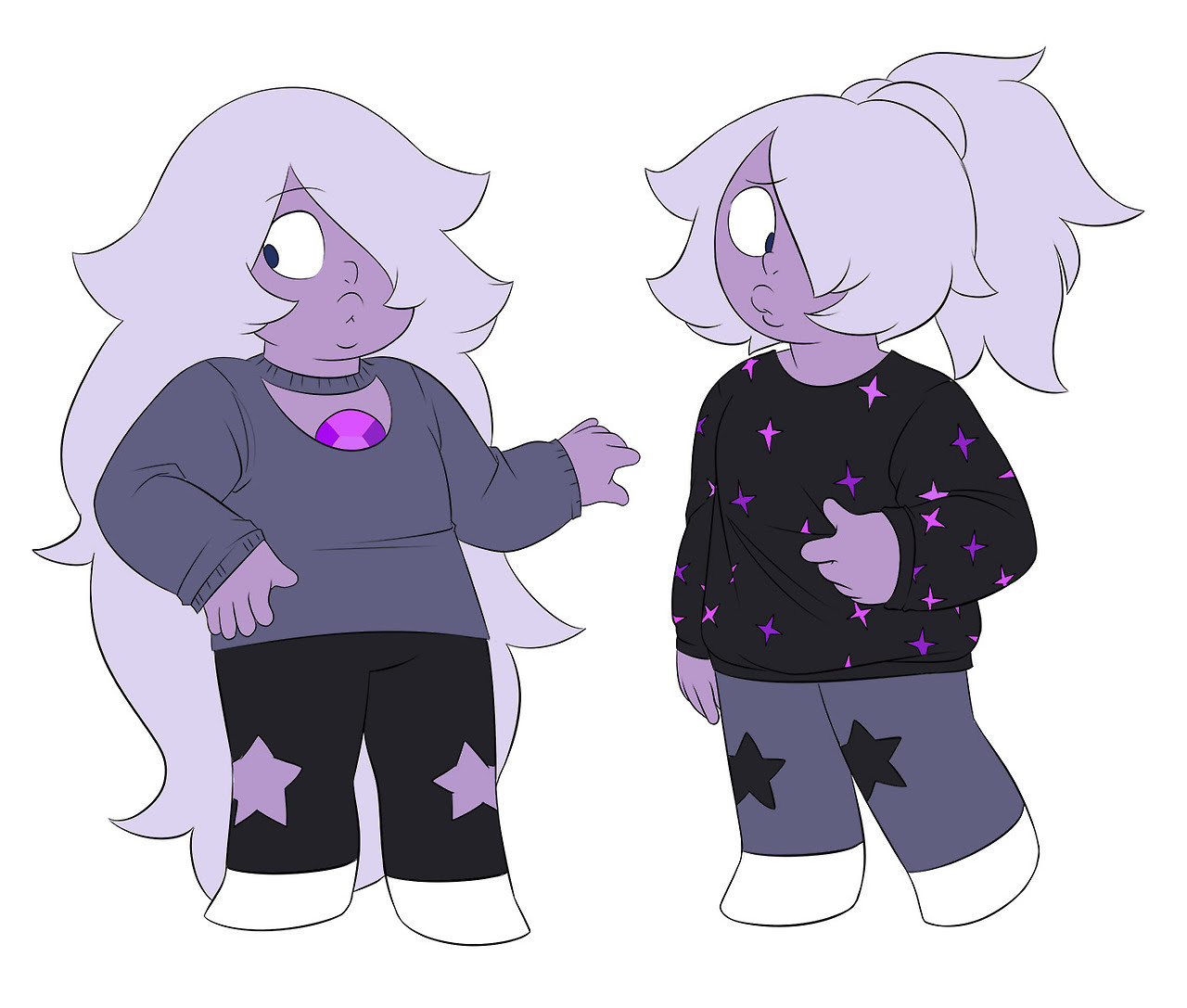 Alternate universe where everything is the same except Amethyst wears fashionable sweaters