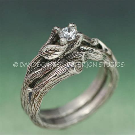ACADIA WEDDING RING Set Engagement Ring and by BandScapes