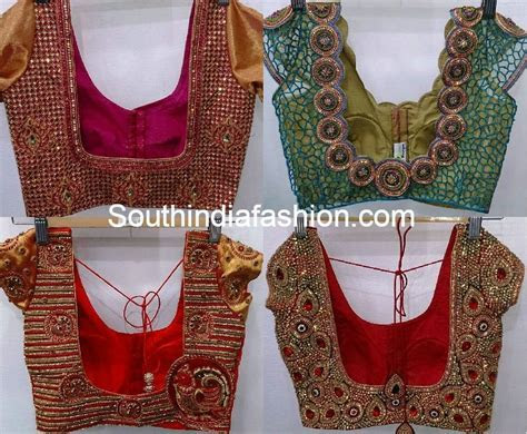Heavy Work Wedding Saree Blouse Designs ?South India Fashion