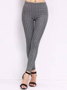 Grey Slim Vertical Stripe Leggings