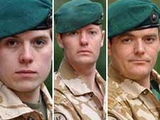 Marine Paul Warren; L/Cpl Michael Taylor;  Sgt Steven Darbyshire